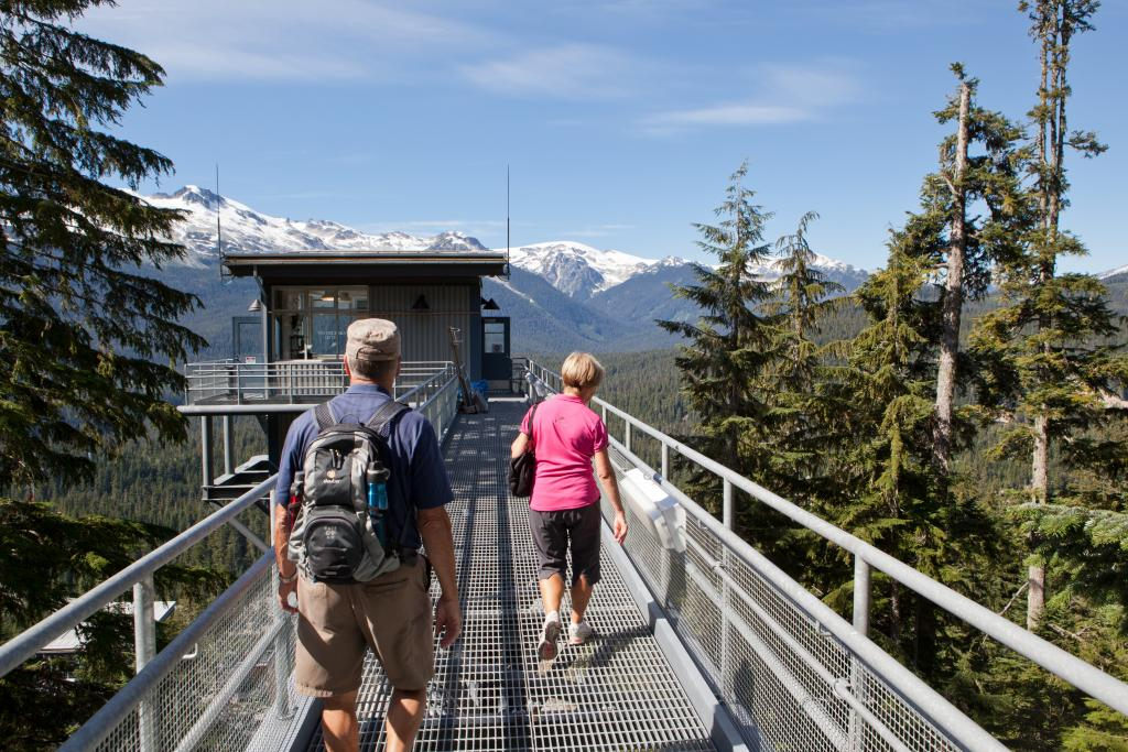 Couple hiking on Olympic ski jumps