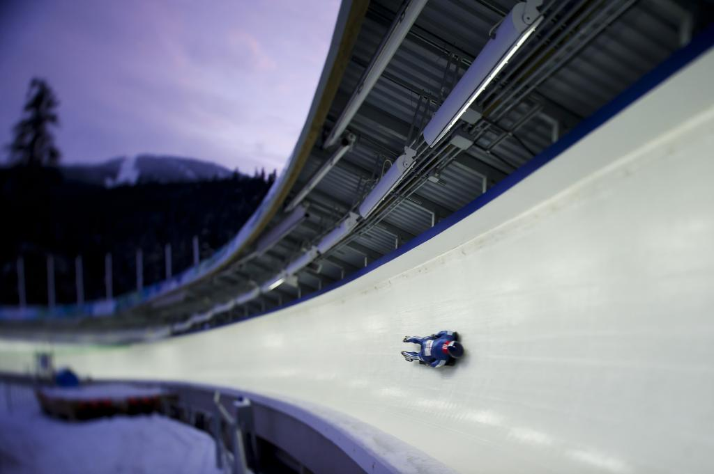 Skeleton athlete in track at Whistler Sliding Centre
