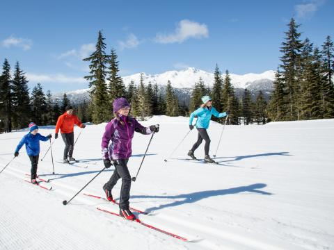 Family cross country skiing at Whistler Olympic Park