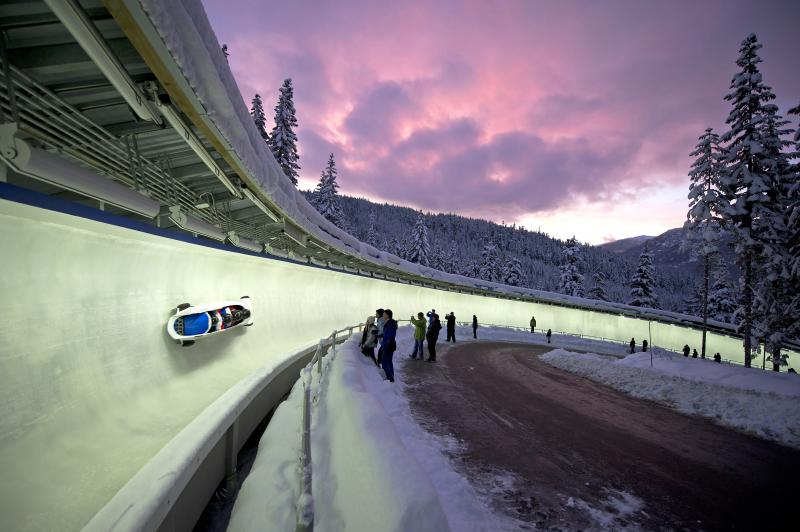 Bobsleigh in track at Whistler Sliding Centre