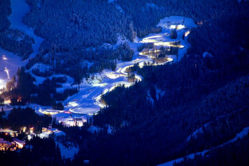 Whistler Sliding Centre Night Aerial