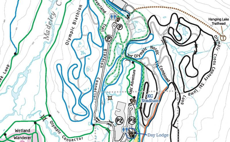 Trail map excerpt Whistler Olympic Park